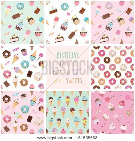 Cute seamless pattern set with different sweets. For Birthday design. Baby Shower. Scrapbook paper. Pastel colors for girls. For print and web.