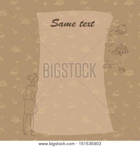 Smell something tasty. Blank for menu, illustration