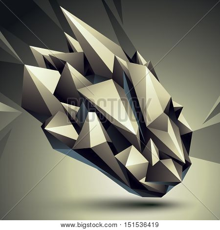 3D Vector Abstract Design Object, Polygonal Complicated Figure. Grayscale Deformed Shape, Render.