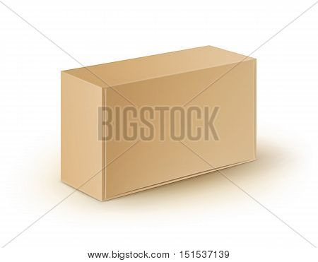 Vector Brown Blank Cardboard Rectangle Take Away Box Packaging For Sandwich, Food, Gift, Other Products Mock up Close up Isolated on White Background