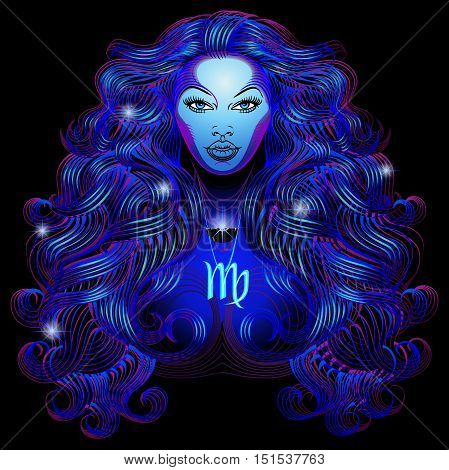 Neon signs of the Zodiac: Virgo. A series of signs of the zodiac. Made in neon art. On a black background constellations.
