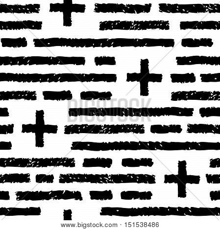Abstract seamless pattern. Black horizontal strokes and crosses. Charcoal or pencil drawing. Grunge vector texture of fabric background print and web