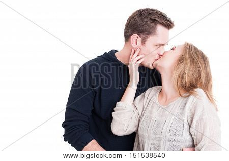 Handsome Couple Kissing And Being Affective
