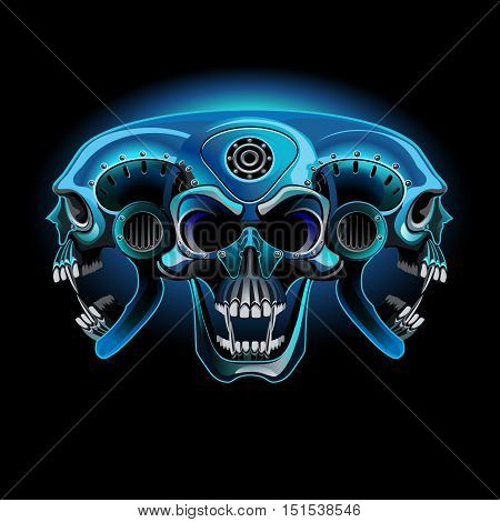 Three techno skull in one in the neon light