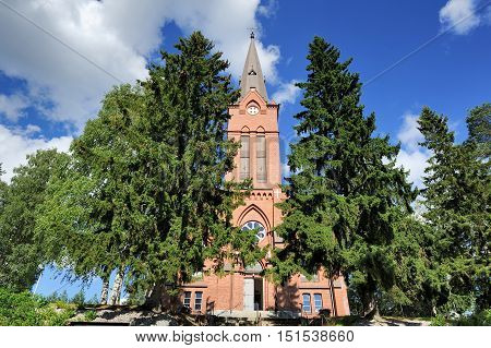 old famous church in Nurmes town Finland
