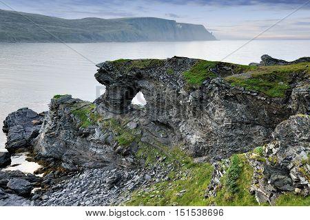Kirkeporten Rock near Skarsvag town Nordkapp Norway