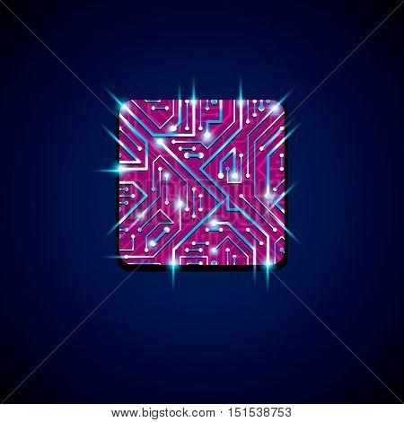 Vector Technology Cpu Design With Square Luminescent Microprocessor Scheme. Computer Circuit Board,