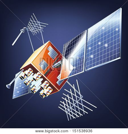 Space satellite orbiting the earth. Vector telecommunications satellite