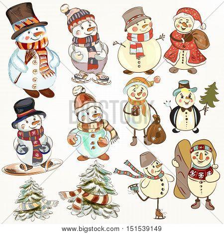 Cute Christmas collection of snowmen for festive design. Cartoon style