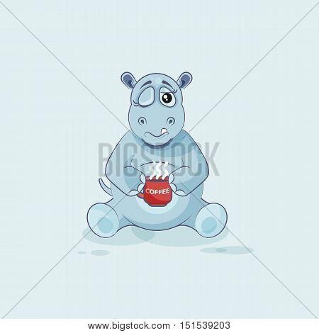 Vector Stock Illustration isolated Emoji character cartoon Hippopotamus just woke up with cup of coffee sticker emoticon for site, info graphic, video, animation, websites, mail, newsletter, reports