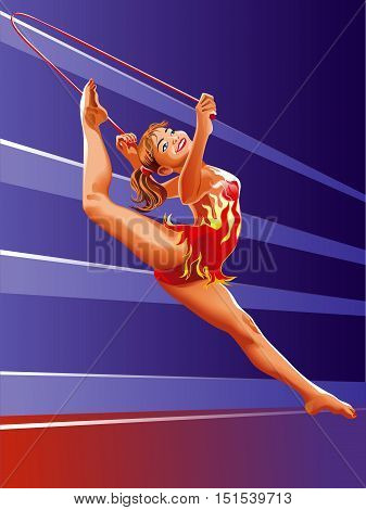 vector girl gymnast with red ribbon isolated on abstrackt background