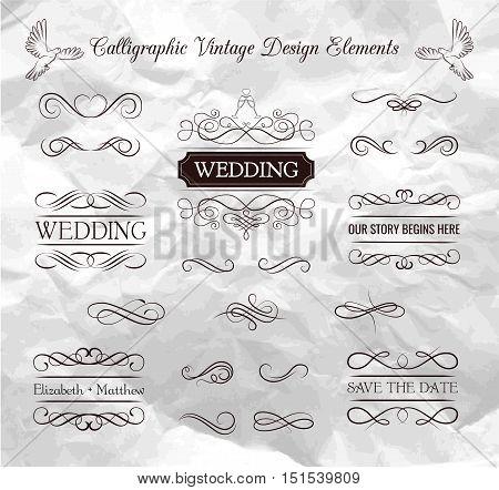 Wedding ornaments decorative elements, vintage ribbon frame, badge. Vector love element. Wedding invitation. Ornate frame elements. Vintage filigree decoration. Ornaments decorative vintage frame. Vector