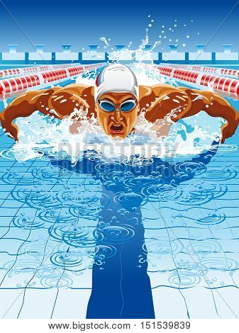 Young man in swimming cap and goggles swim using breaststroke technique poster