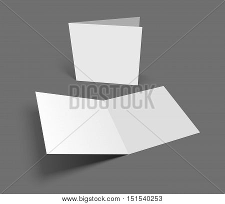 Blank square two-leaf greeting card on dark gray background. Vector illustration mockup. Opening and cover showing.