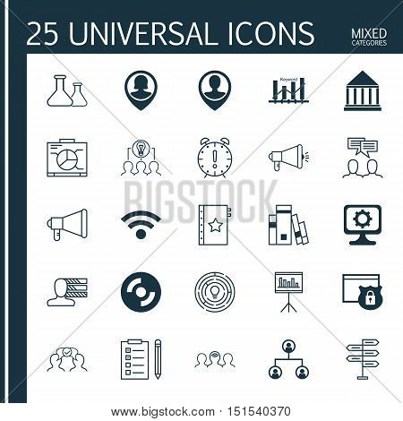 Set Of 25 Universal Icons On Education Center, Keyword Optimisation, Pin Employee And More Topics. V