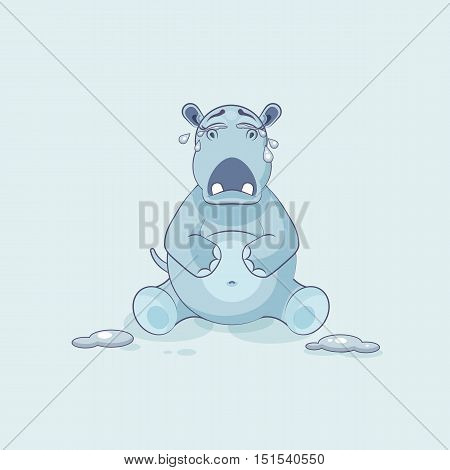 Vector Stock Illustration isolated Emoji character cartoon Hippopotamus crying, lot of tears sticker emoticon for site, info graphics, video, animation, websites, e-mails, newsletters, reports, comics