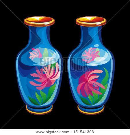 Collection of mascots: two Chinese vases. Vector objects talismans Feng Shui on a black background.