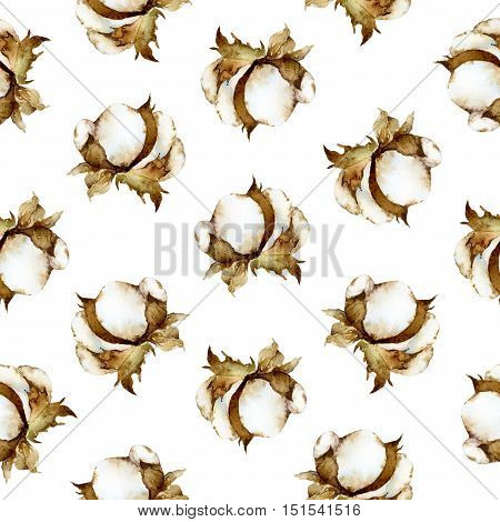 Seamless watercolor pattern with white flowers of cotton