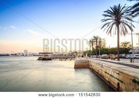 Promenade And Marina On Arade River In Portimao, Portugal