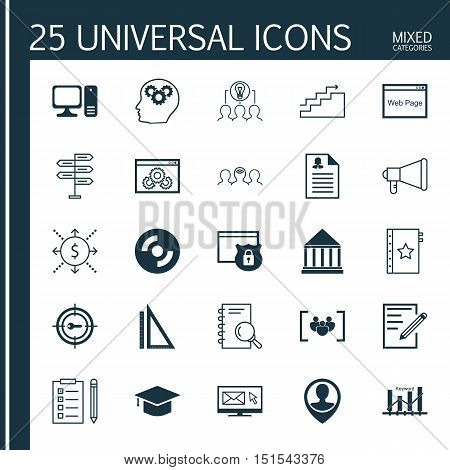 Set Of 25 Universal Icons On Keyword Marketing, Education Center, Female Application And More Topics