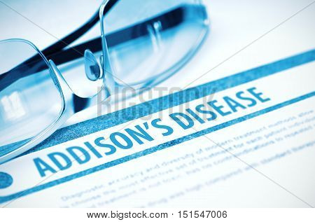 Addisons Disease - Medicine Concept on Blue Background with Blurred Text and Composition of Specs. 3D Rendering.