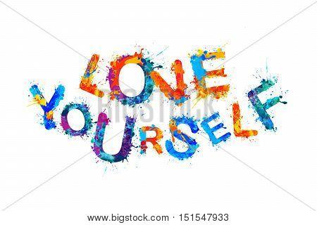 Love Yourself. Inspirational vector watercolor splash inscription