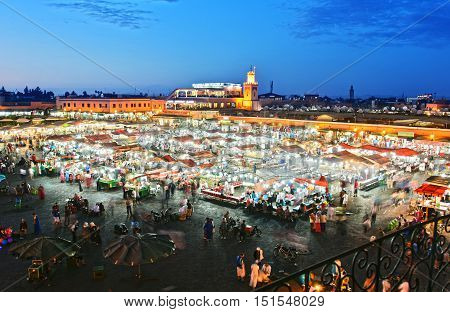 MARRAKESH MOROCCO - SEPT 21 2016: Jemaa el-Fnaa square in Medina of Marrakesh Morocco UNESCO World Heritage Site