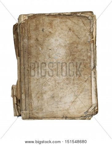 Old tattered book - paperback - isolated on white background
