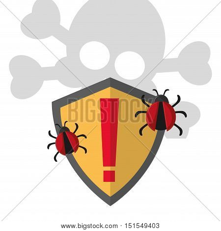 shield with threat and bugs internet security related icons image vector illustration design