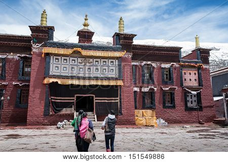 SHIGATSE, TIBET-MAY 2016: Tibet architecture. Sakya monastery is a pilgrim and tourist destination. Its religious structure is influenced by Mongol style.
