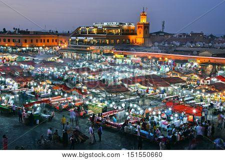 Jemaa El-fnaa Square In Medina Of Marrakesh, Morocco