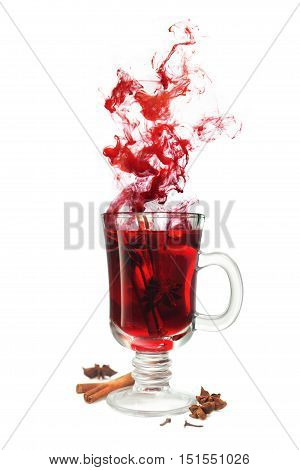 Mulled wine flavor with illicium and cinnamon isolated on white