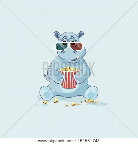 Vector Stock Illustration Emoji character cartoon Hippopotamus chewing popcorn, watching movie 3D glasses sticker emoticon for site, info graphic, video, animation, website, mail, newsletter, report