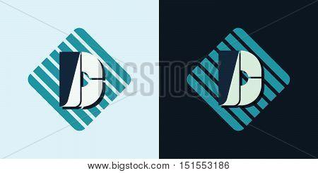 letter D company identification logo bright and dark bg vector illustration
