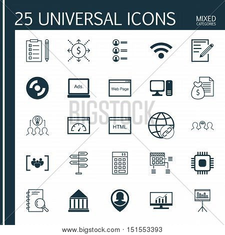 Set Of 25 Universal Icons On Wireless, Opportunity, Connectivity And More Topics. Vector Icon Set In