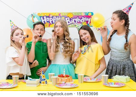 group of teenagers at a birthday party
