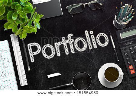 Portfolio Concept on Black Chalkboard. 3d Rendering. Toned Illustration.