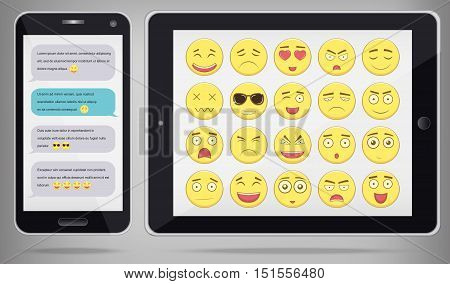 Emoticon set with realistic phone and tablet. Emoticon for web site, chat, sms. Modern flat design. Vector illustration
