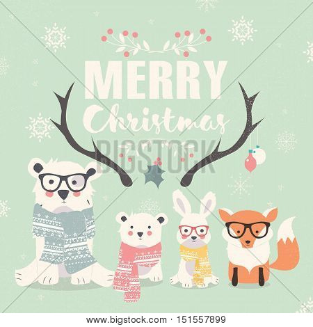 Merry Christmas lettering with hipster polar bears fox and rabbit vector illustration