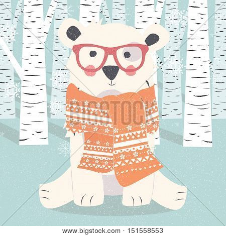 Merry Christmas postcard with hipster polar white bear in forest vector illustration