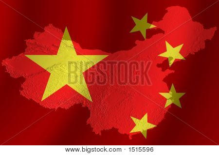 Chinese Flag With Topography