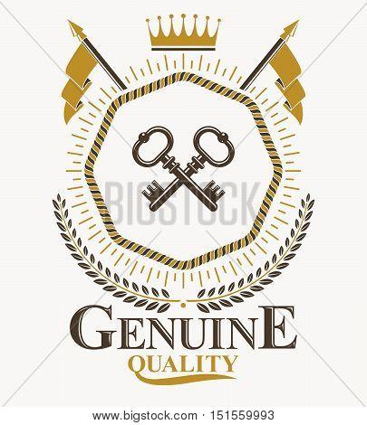 Vintage heraldry design template vector emblem. Heraldry conceptual illustration