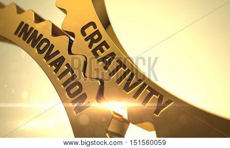 Creativity Innovation on Mechanism of Golden Metallic Gears with Glow Effect. 3D.
