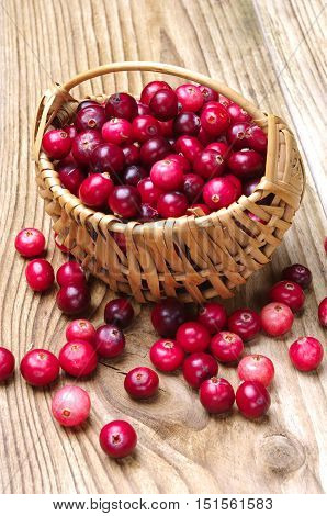 Cranberries with basket on a wooden background