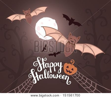 Vector Halloween Illustration With Flying Bats On Moonlit Night On Dark Trees Background With Text,