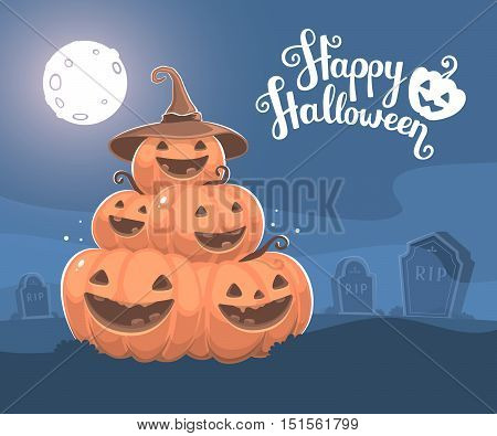 Vector Halloween Illustration Of Pile Of Decorative Orange Pumpkins With Hat, Eyes, Smiles, Full Moo