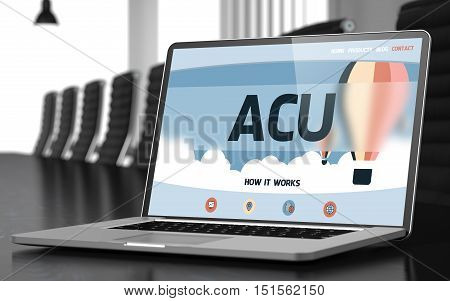 ACU - Average Concurrent User - on Landing Page of Laptop Screen in Modern Meeting Hall Closeup View. Blurred Image. Selective focus. 3D.