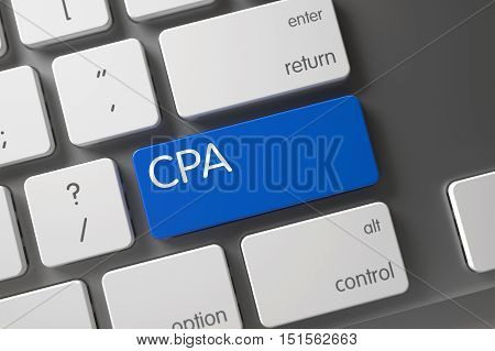 CPA Concept Modern Laptop Keyboard with CPA on Blue Enter Keypad Background, Selected Focus. 3D Render.