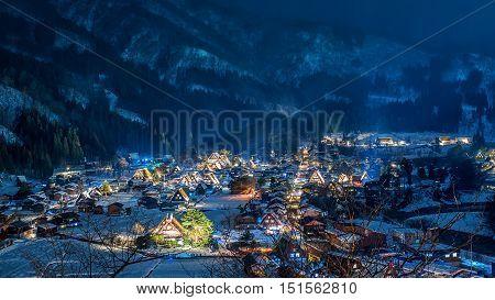 The Historic Villages of Shirakawago are one of Japan's UNESCO World Heritage Sites.Shirakawago light-up with Snowfall Gifu Chubu Japan