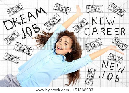 Young happy woman with money drawings on checkered pattern background. Text DREAM JOB, NEW CAREER and NEW JOB.